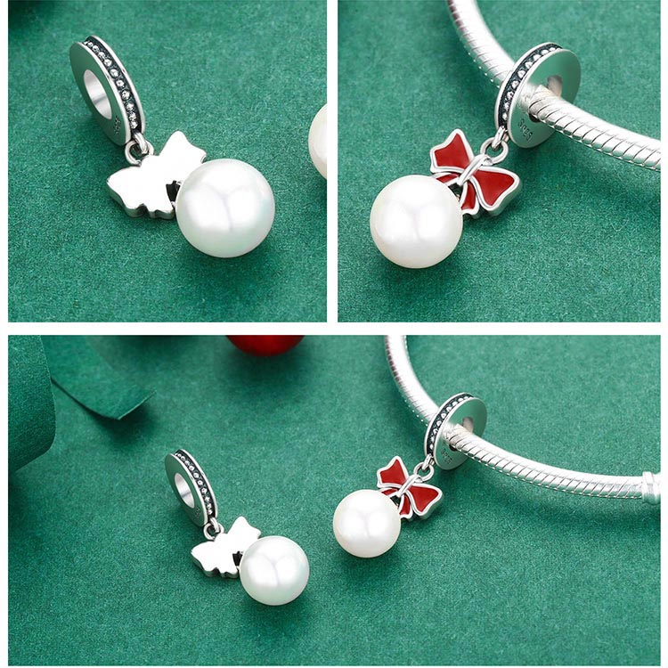 BAMOER Authentic 925 Sterling Silver Glittering Glamorous Bowknot Beads fit Women Charm Bracelets Jewelry Christmas Gift