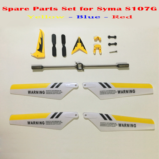 Colorful Syma S107G S107 RC Helicopter Spare Parts Main Blades, Tails, Props, Balance Bar, Shaft, Gears Replace Accessories