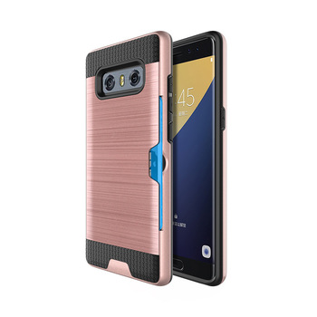 C&T Brushed Metal Case Hard PC Back Cover Hybrid Dual Layer Shockproof Case Cover with Card Slots for Samsung Note 8