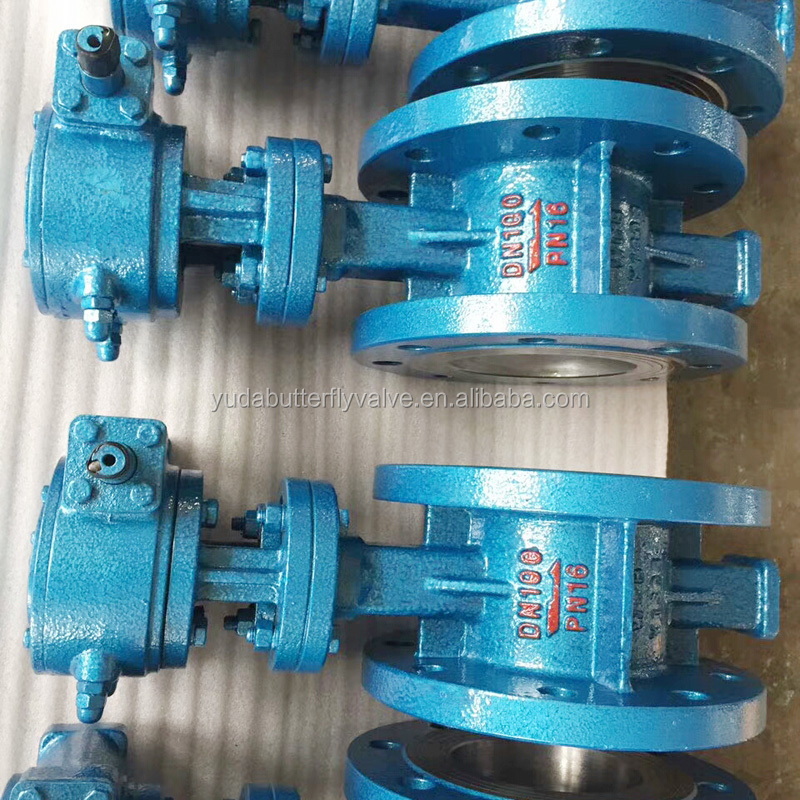 Advanced production & high quality complete triple eccentric WCB flange price butterfly valve with gear operated