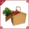 2017 new high quality cheap indonesian rattan woven empty picnic hamper basket large capacity picnic baskets for 4 person