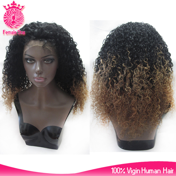 Factory wholesale T color 22 inch 100% human hairmongolian kinky curly wig 200 density virgin remi mongolian hair lace front wig