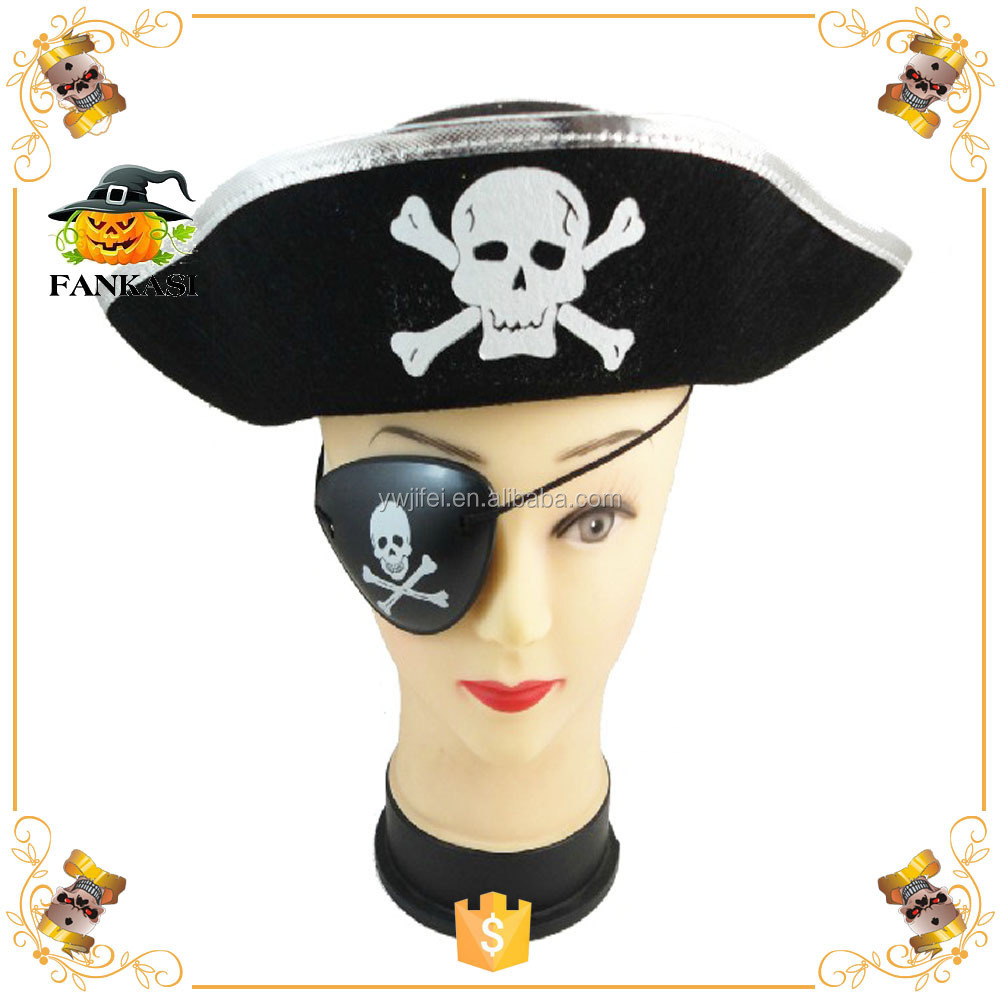Black Halloween Pirate Hat Pattern With Skull for Sale