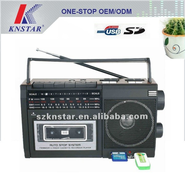 Portable radio cassette recorder with USB SD music player