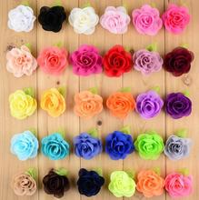"30 colors 2.4"" Rolled Rosette Chiffon Flowers With Leaf For Headbands 3d Fabric Flowers White forBaby Girl Hair Accessories"