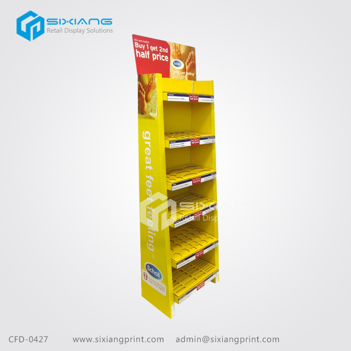 Promtional CMYK Cardboard Display Stand With Holes For Foot Care Products