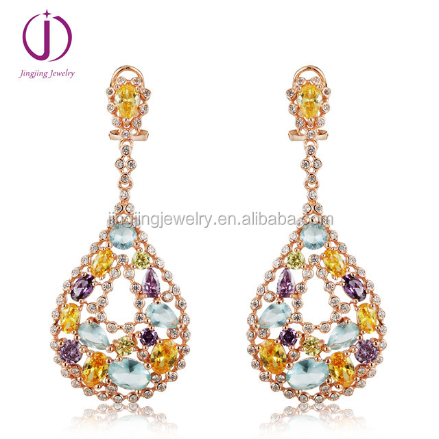 Women bridal jewelry 925 sterling silver colorful crystal drop earrings