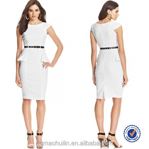 2015 ladies office wear elegant flattering peplum design cap sleeve midi dress with a belt
