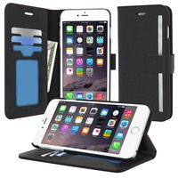 Low Price Wallet Case - [Stand Feature] Premium Synthetic Leather Folio Flip Case Cover with Card Holder for Apple iPhone 6s