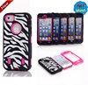 Silicone PC hybrid Combo Zebra defender case cover for iphone 5 5S 4 4S