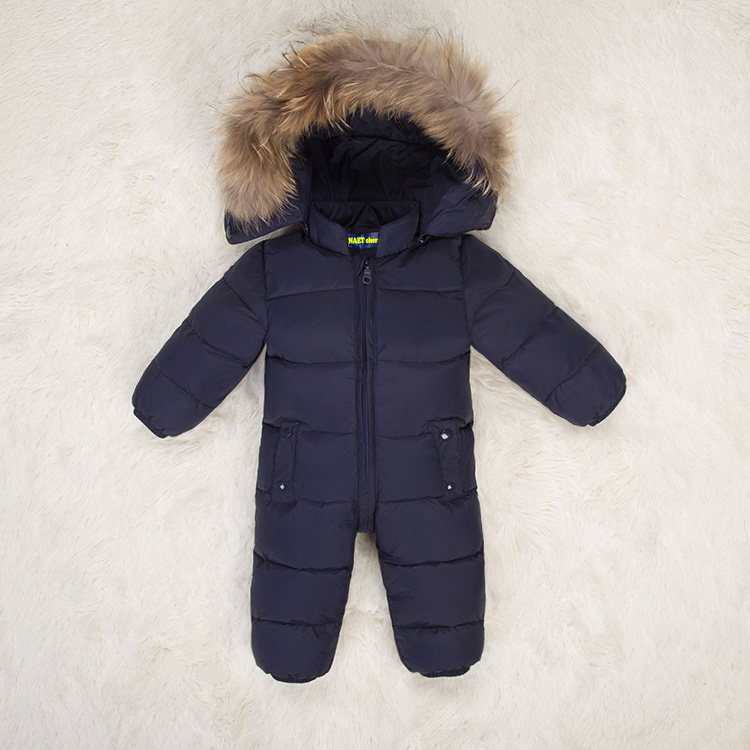 Fashionable Jumpsuit children boys down coat girl winter fur baby snowsuit unisex windproof kids winter rompers clothing suits