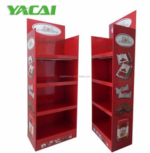 Corrugated Cardboard floor display,POS Cardboard floor display stand shelf for biscuits