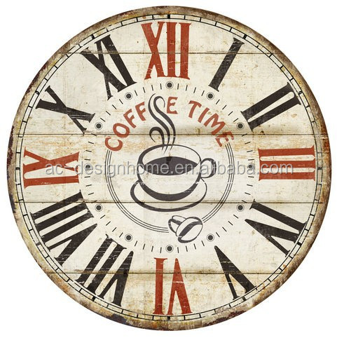 COFFEE TIME ROUND MDF WALL CLOCK