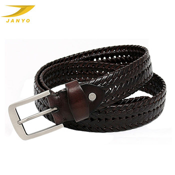Casual cowboy style men braided leather rope belt