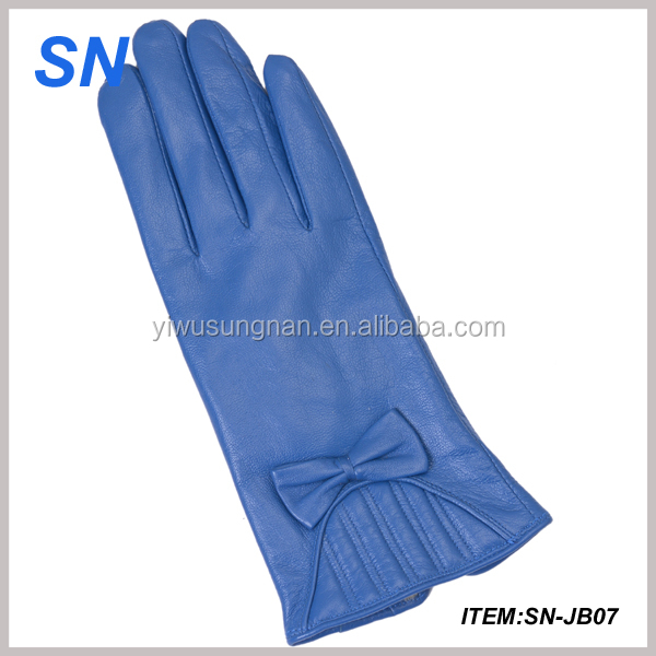 fashion new design blue leather gloves for ladies