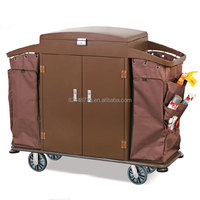 Deluxe hotel guestroom service cart with two bucket,cleaning trolley