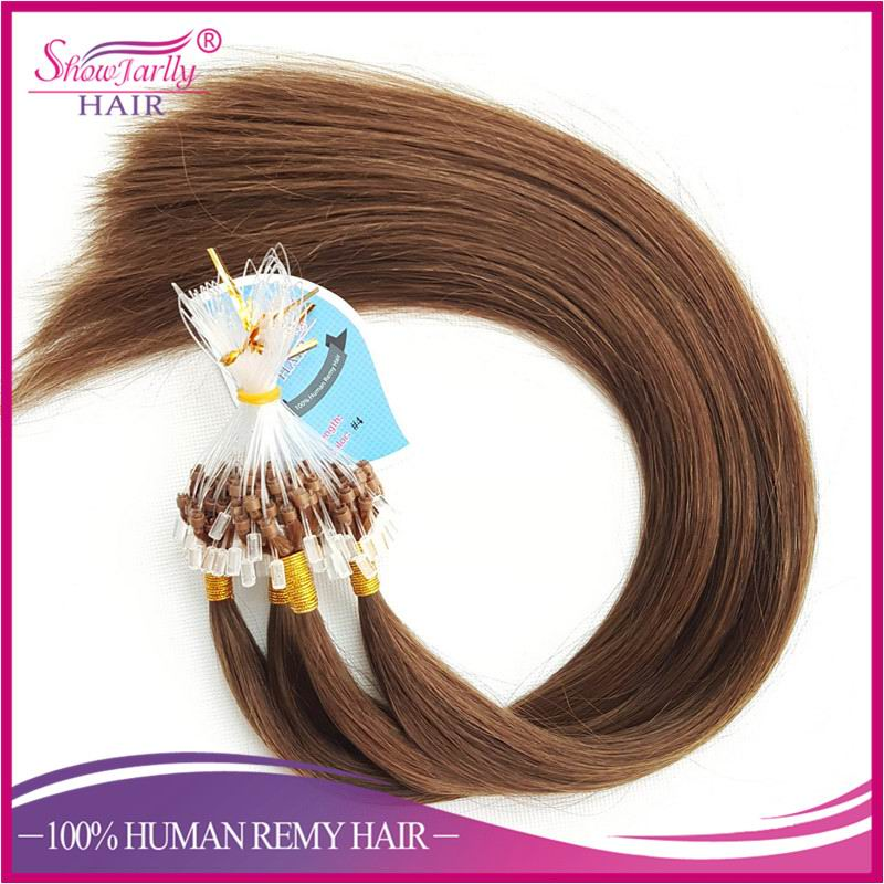 8A Russian hair Silk straight micro bead wefts remy human hair extensions brown micro loop ring