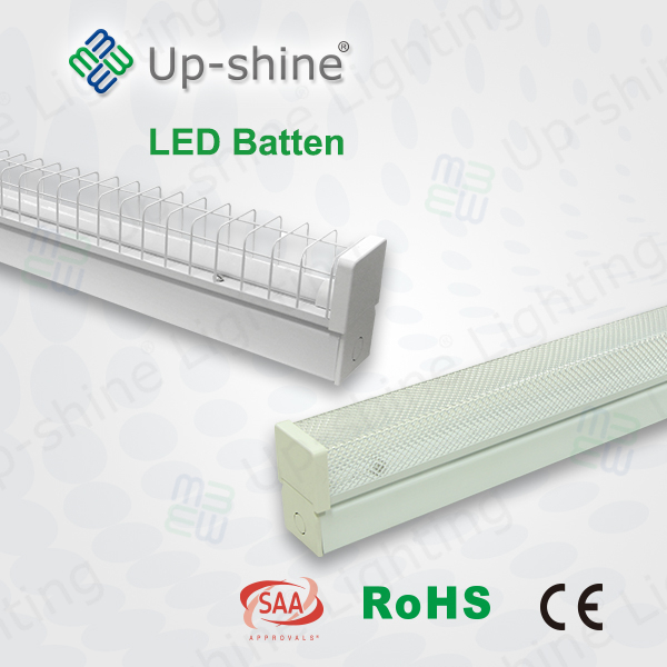Up-shine 600mm 1.2m 1.5m SAA CE approved 9w 18w linear led suspended light t8 25w led tube light fixture 50w double T8 batten