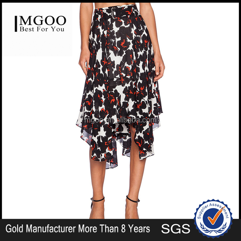 MGOO 2016 Imported OEM Services Floral Dancing Skirts For Women Ruffles Pleated Block Print Pattern Skirt 15145A923