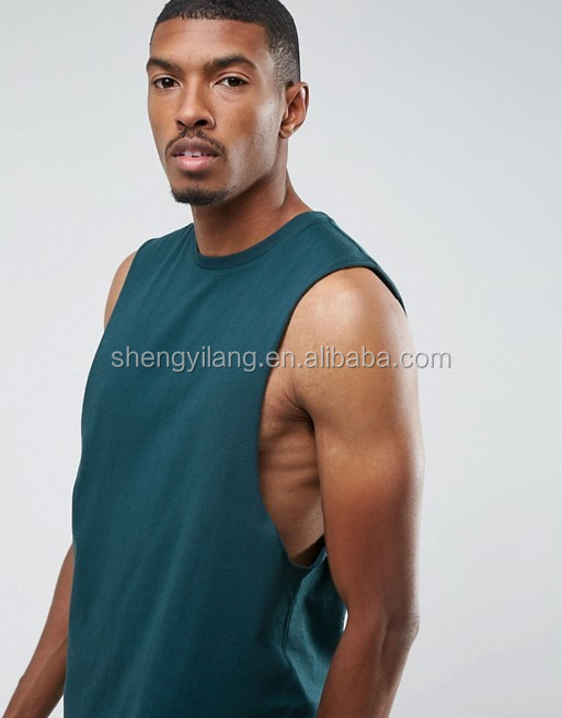 Mens Sport Longline Sleeveless T-Shirt With Dropped Armhole Singlet