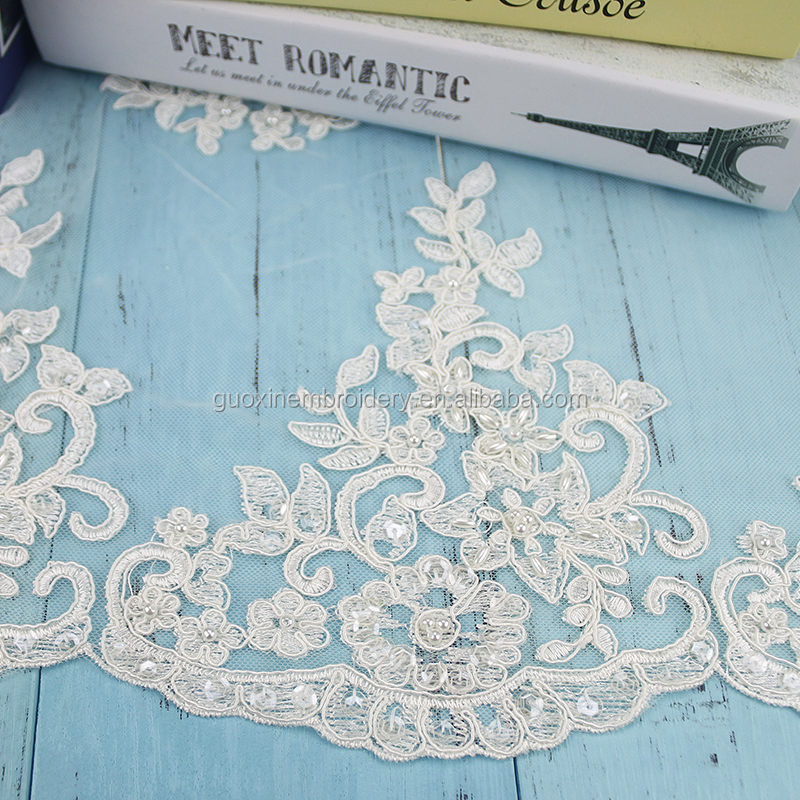 2018 wedding dress fabric heavy beaded lace fabric/embroidery lace fabrics for dress PW10308