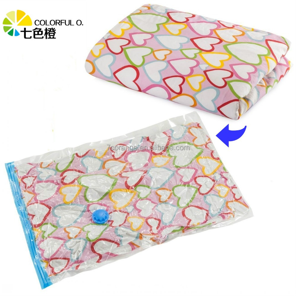 Plastic bedding vacuum seal storage bag for mattress