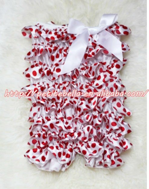 Minnie Red White Polka Dot Petti Romper with White Bow MALR43