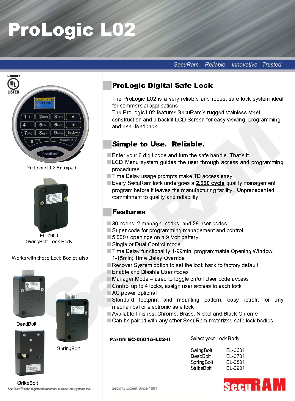Electronic Combination Security Safe Lock