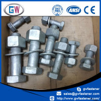 Plain Black / Galvanized ASTM A325 high strength structural bolt