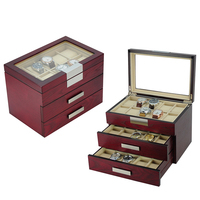 Extra Large Wooden Watch Box for 30 Oversized Watches with Stainless Steel Plates Decorate