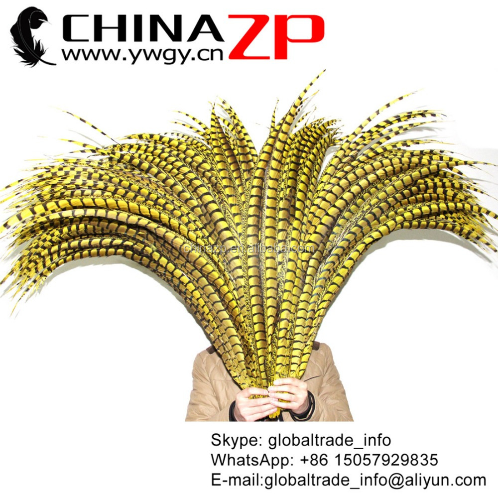 Trade Assurance Supplier CHINAZP Wholesale Carnival Item Long Dyed Yellow Lady Amherst Pheasant Tail Feathers