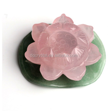 lotus shape rose quartz crystal craft for decoration