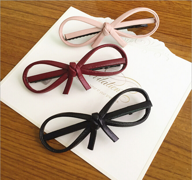 Newest!! Design Wholesale Women Hair Accessories Handmade Leather Hiar pin, Cute Big Bow Hairpin, Red Bow Hair Clip