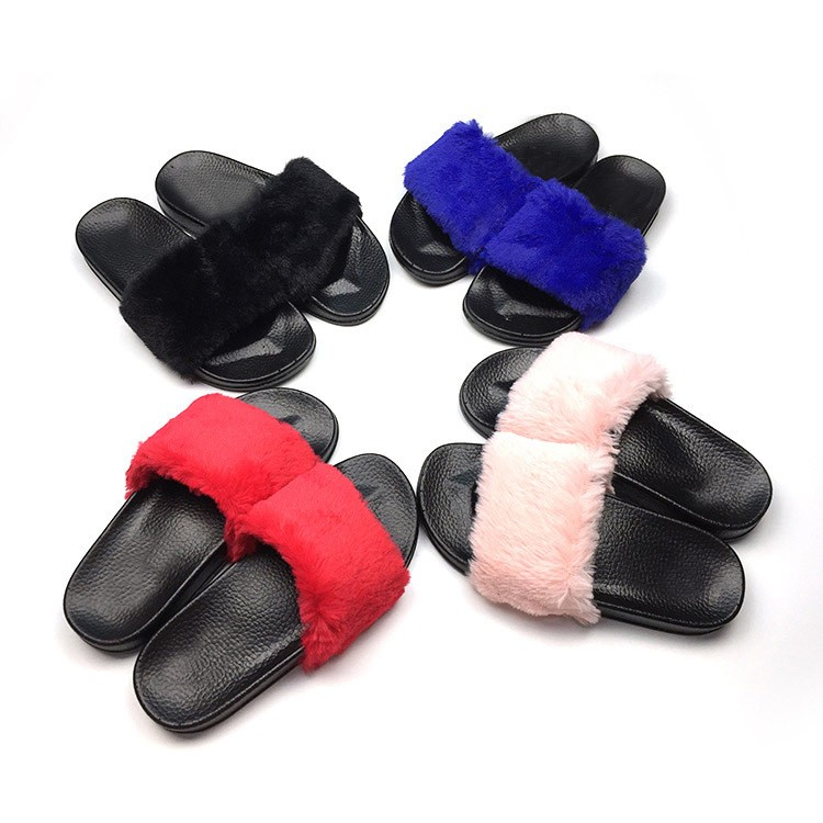 SL1014 outdoor flat soft girls fur <strong>slippers</strong>