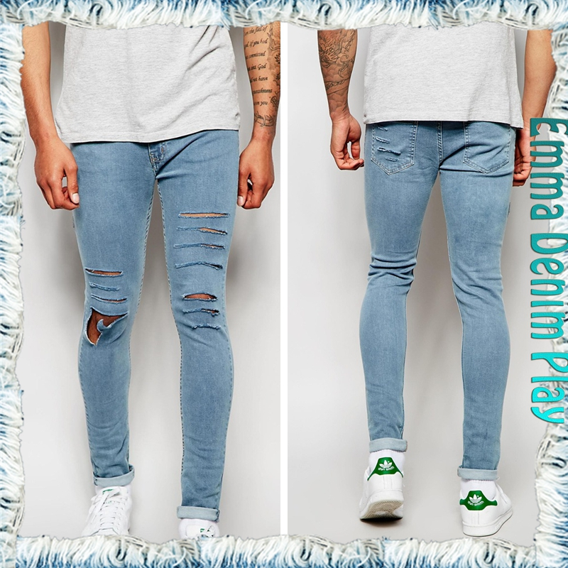 2016 New Model Design Pocket Detail Damaged Cut Men's Blue Denim Skinny Jeans Bulk Stock