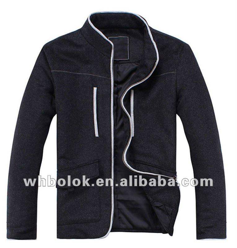 Fashionable apperal mens melton woo black jacket with stand up collar