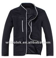 Fashionable mens melton woo black jacket with stand up collar jacket`