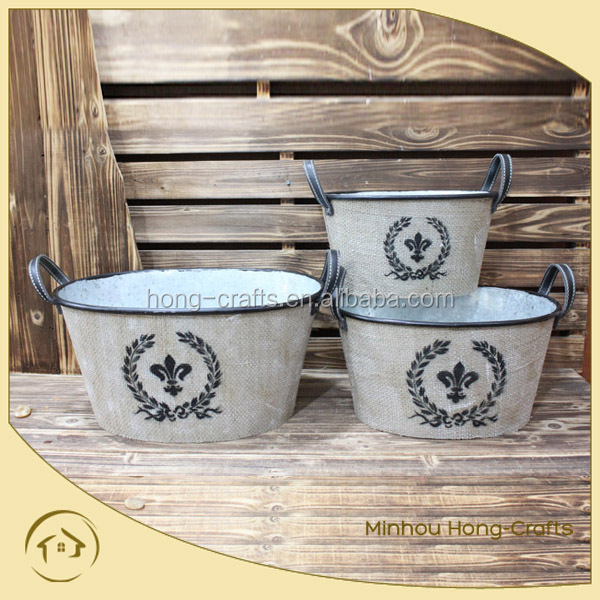 Marks and Spencer s/3 metal rustic oval garden pot for flower wholesale