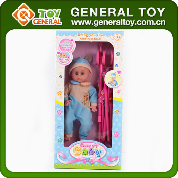 "16"" Small Baby Doll With Doll Stroller"
