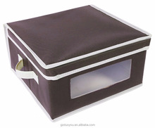 Foldable Fabric Storage Bins - Organization Storage Cube Boxes with Clear Watch Windows & Lids - for Home Storage