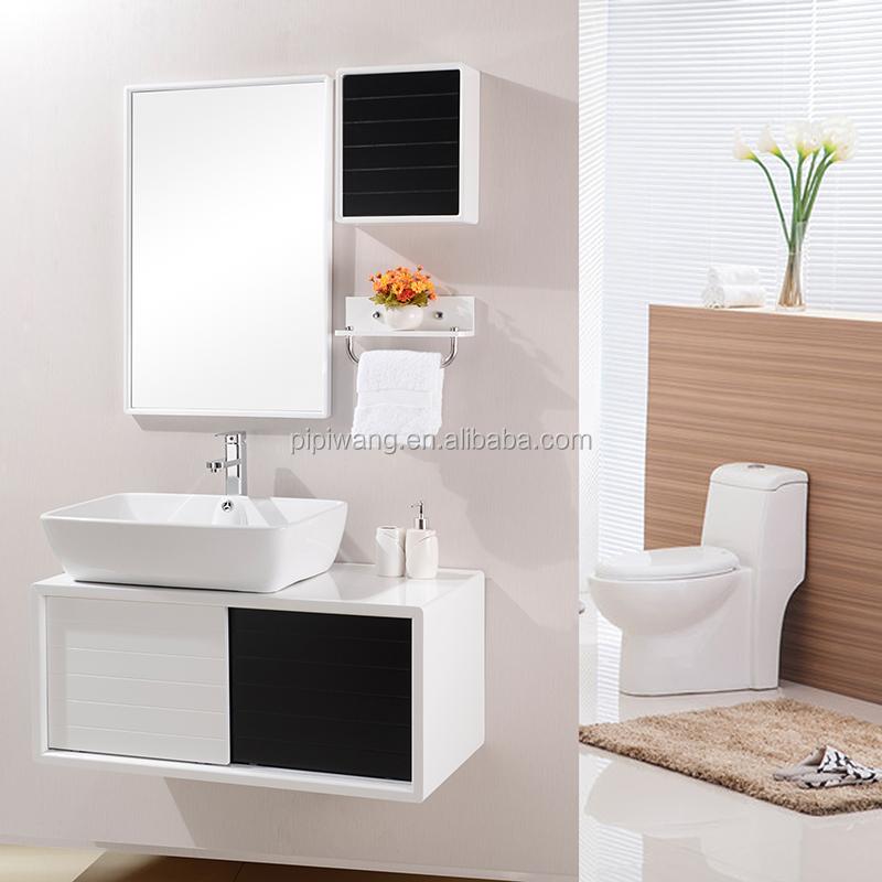 Haute qualit 90 cm noir suspendus pvc salle de bains for Meuble salle de bain qualite