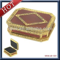 metal gold plated vintage rectangle jewelry box