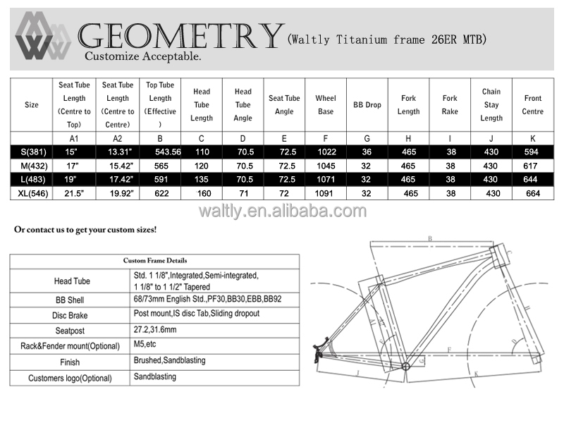 "170mm rear spacing 26"" fat titanium bicycle frame"