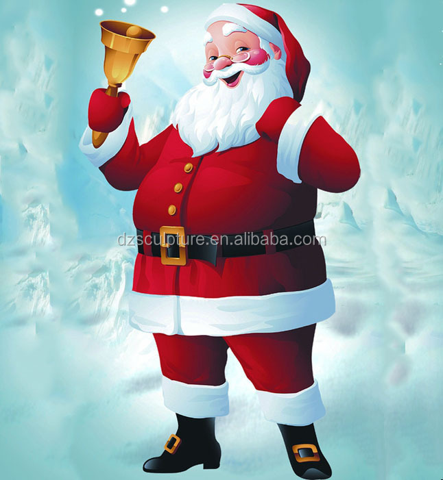 Holding small bell fiberglass christmas santa claus statue for outdoor decoration