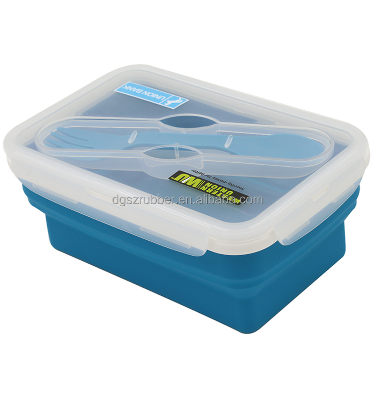 Large folded BPA free silicon lunch box storage boxes for outdoor camping