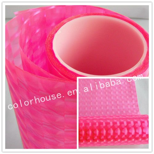 Pink 3D cat eye embossed headlight color change film