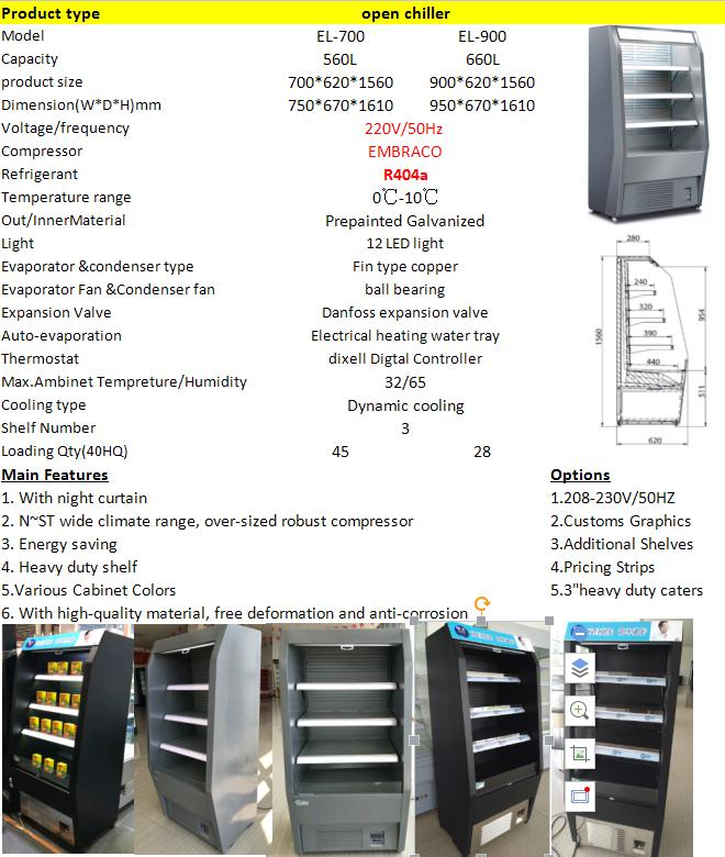 Commerical Multideck Display Standing Refrigerator
