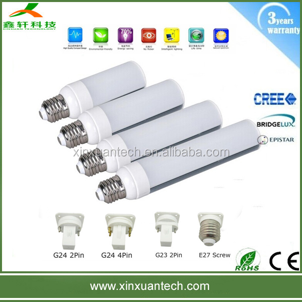 smd led pl g24 light 11w , led plc lamp g24 ,g24 led horizontal lights