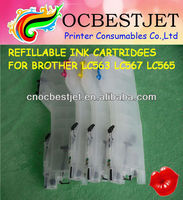 With Permanent Chips! 4 Colors Compatible Refillable Brother LC563 Ink Cartridge (LC563 / LC567XL / LC565XL, MFC-J2510)