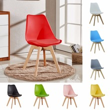 Wholesale modern cheap leisure plastic tulip dining chair with wooden legs